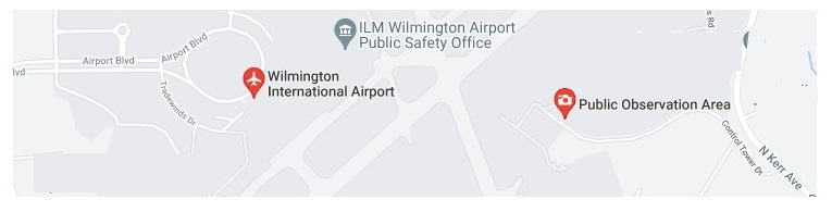 Map showing the Wilmington International Airport and the Public Observation Area